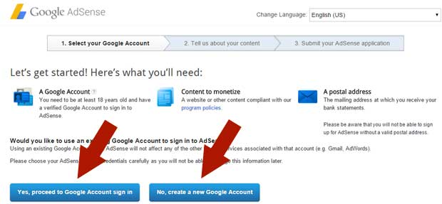 Apply for Google AdSense - 1st Step