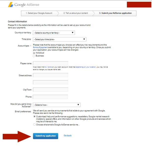 Apply for AdSense - Final Step
