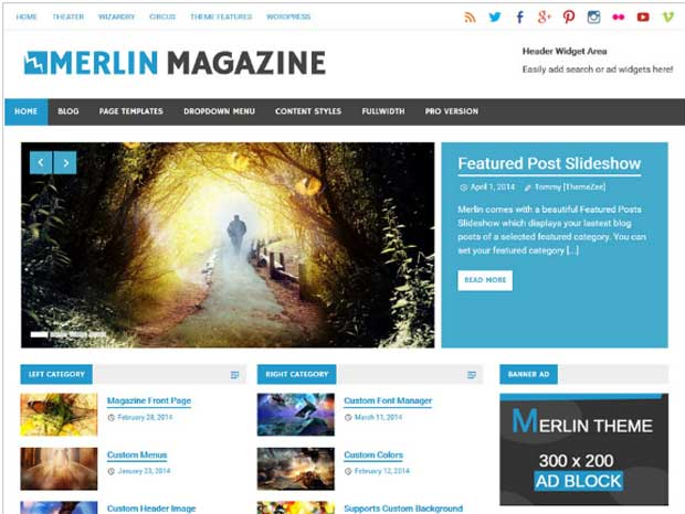 Merlin - 3 Column WordPress Themes