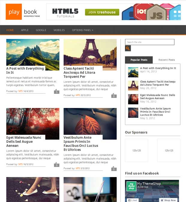 PlayBook - Free 3 Column WordPress Theme