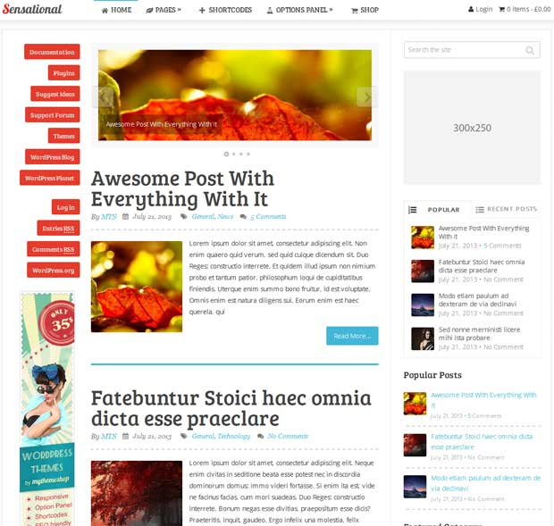 Sensational - 3 Column WP Theme