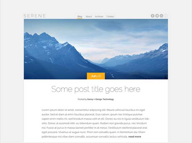 Serene Theme, WordPress Theme for Blog