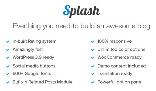 All Features of Splash Theme